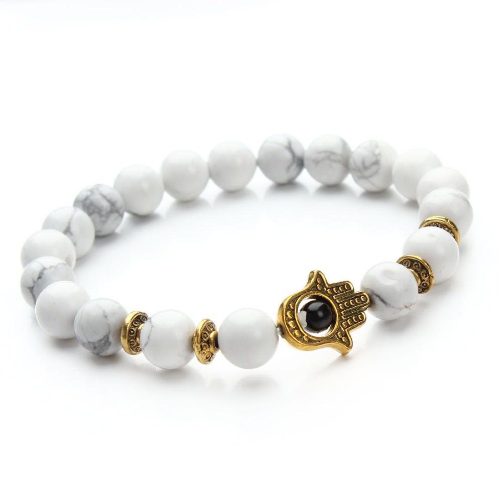 11529-ea2a86507c2b7f0e0e9d4d02e5ddb45e 8mm Natural Stone Bead Elastic Yoga Bracelet Jewelry With Hamsa Charm