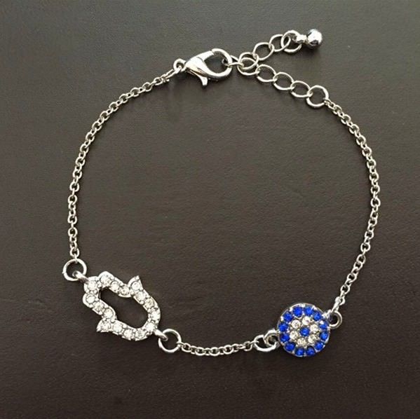 11530-116b2a72d51f423db78d47f1c57d55d3 Vintage Cubic Zircon Diamond Hamsa And Evil Eye Bracelet Jewelry