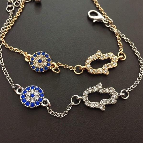 11530-808236e3ecf15ac4e6d4de384a8df760 Vintage Cubic Zircon Diamond Hamsa And Evil Eye Bracelet Jewelry