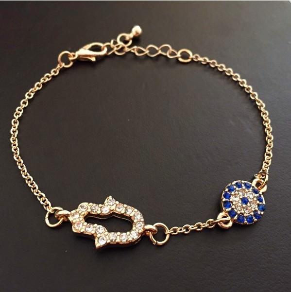 11530-ef9c312c31b073e8dba06d6df38fee80 Vintage Cubic Zircon Diamond Hamsa And Evil Eye Bracelet Jewelry