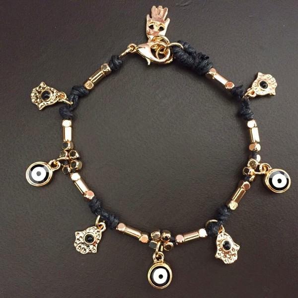 11532-5b7e40eb8d6aed159d7054a1cf1a8487 Ancient Hamsa And Big Eye Charm Bracelet Jewelry