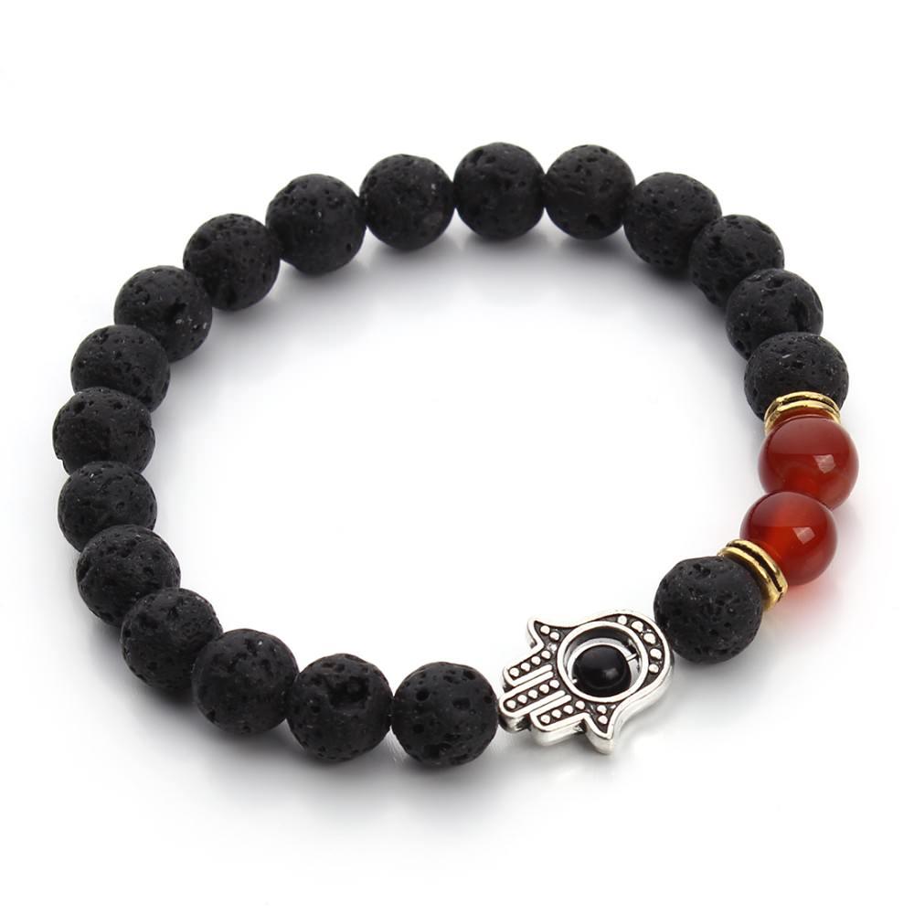 11535-3a8634e145c81a8145a5bb81ed4a2c8d Black Lava Beaded Yoga Bracelet With Hamsa Charm