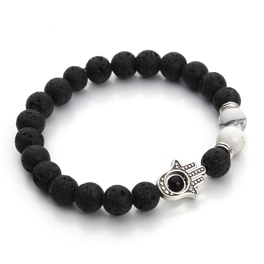 11535-7ed5d2556bfc3c2ef8e72049391456f9 Black Lava Beaded Yoga Bracelet With Hamsa Charm