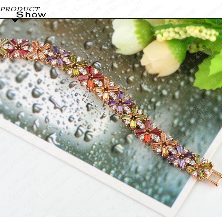 11536-86bddcadd7b6c52bd8e51695e17dadcc LZESHINE Colorful Radiation Shaped Flower Bracelet Jewelry