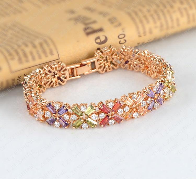 11536-dac2ec1806d7274d7b7680a49399054f LZESHINE Colorful Radiation Shaped Flower Bracelet Jewelry