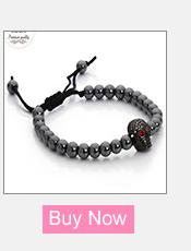 Black Hematite Stone Macrame Bracelet With Skull Accent