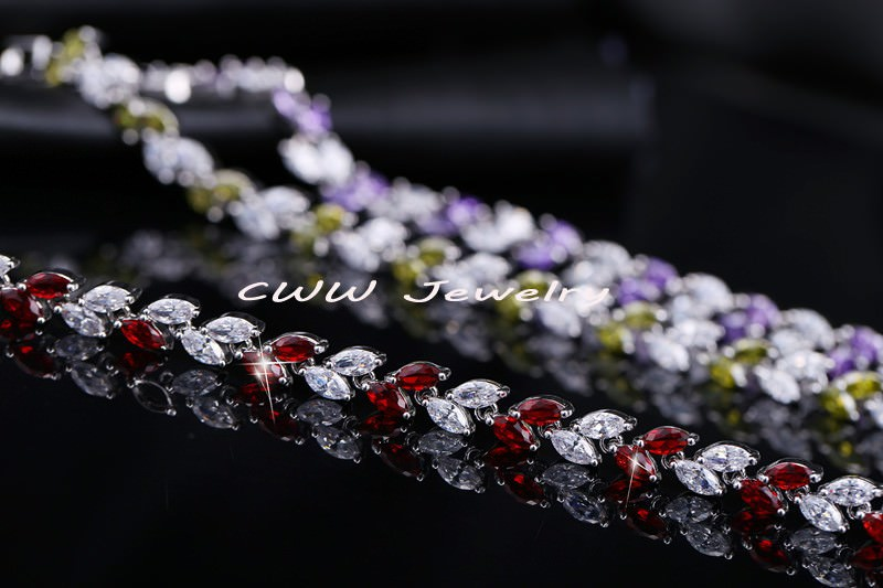 11539-00901273c786df58f15fc667032ef920 New Silver Plated AAA Cubic Zirconia Crystal Leaf Bracelet Jewelry