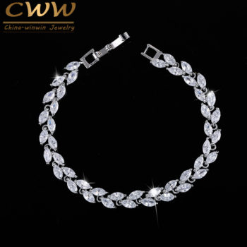 New Silver Plated AAA Cubic Zirconia Crystal Leaf Bracelet Jewelry
