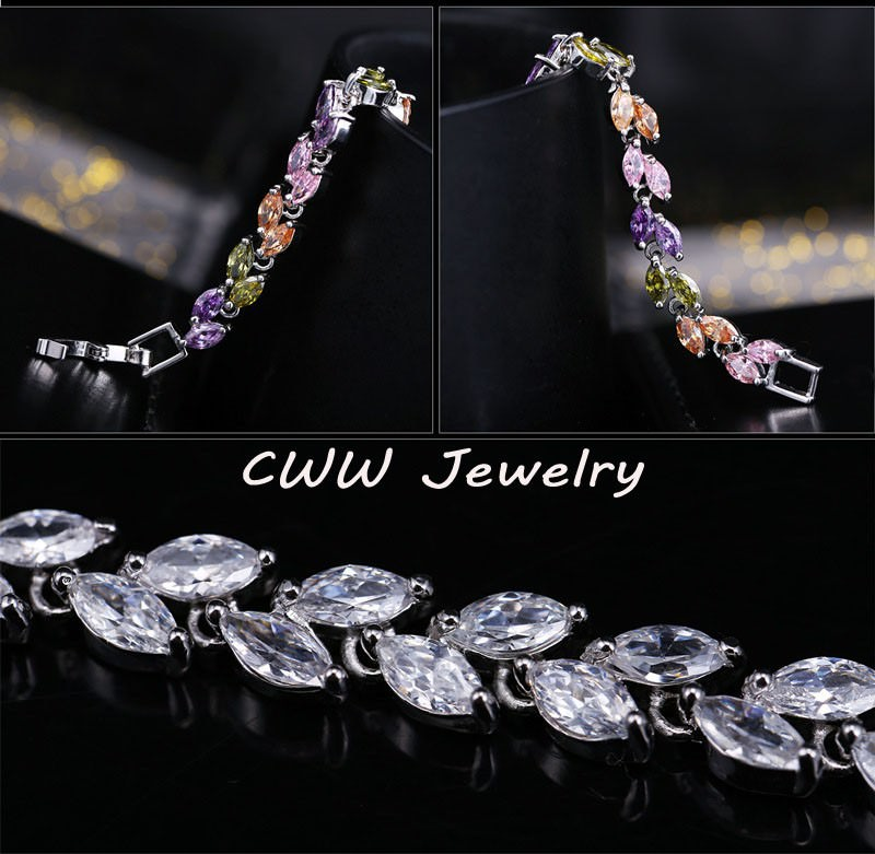 11539-745fcc123fd3070d220caf6d5fdbe5f3 New Silver Plated AAA Cubic Zirconia Crystal Leaf Bracelet Jewelry