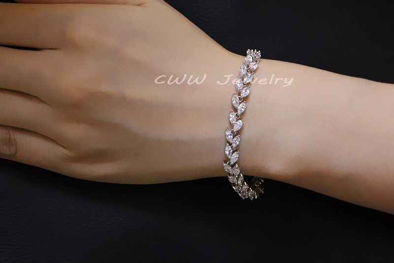 11539-a470034dbcf76c3d0d4fdc1f663cf130 New Silver Plated AAA Cubic Zirconia Crystal Leaf Bracelet Jewelry