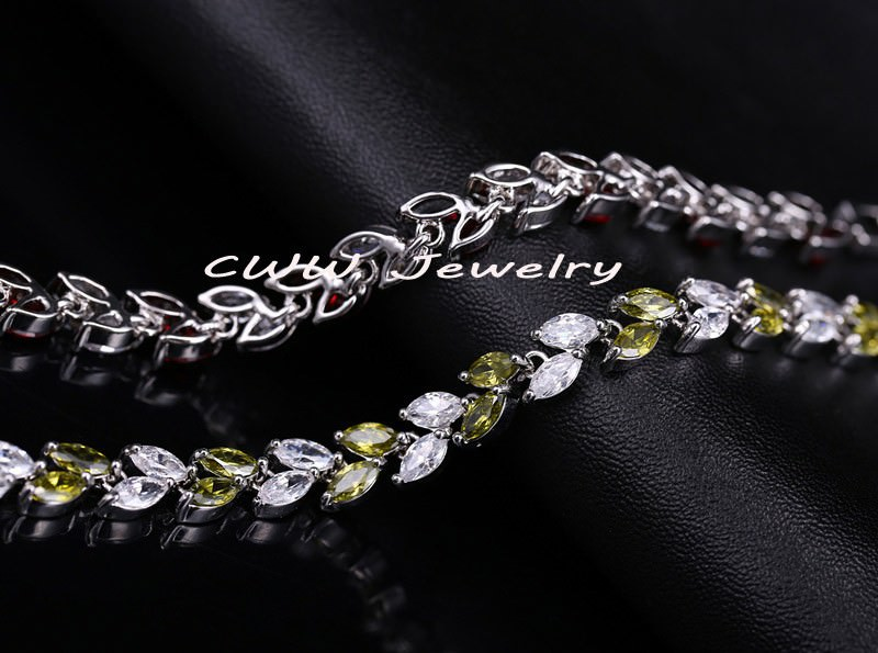 11539-a61096ae4acb18fc481102bea47974a2 New Silver Plated AAA Cubic Zirconia Crystal Leaf Bracelet Jewelry
