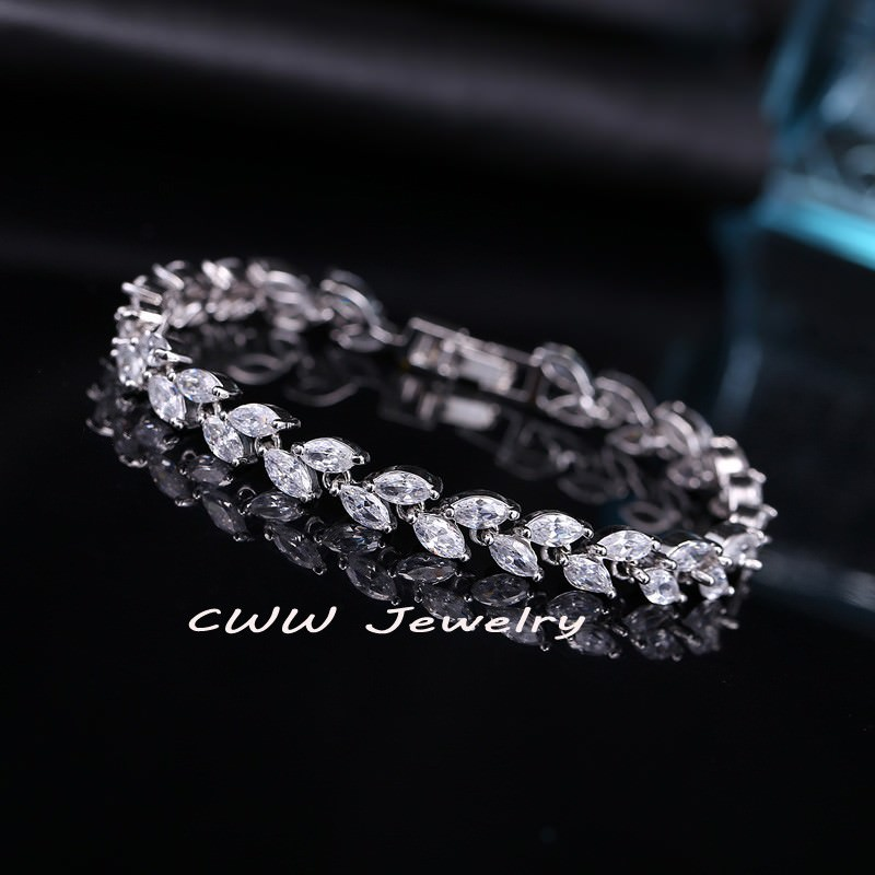 11539-f3bf793533235c31fc20531b2d4104d4 New Silver Plated AAA Cubic Zirconia Crystal Leaf Bracelet Jewelry
