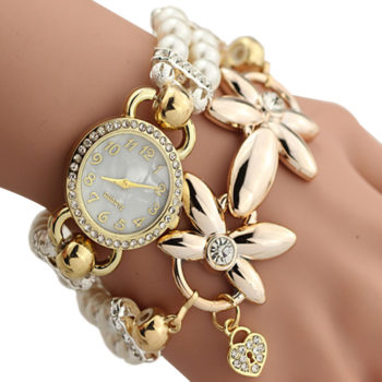 Ornate Watch Bracelet Jewelry With Pearls And Cubic Zirconia