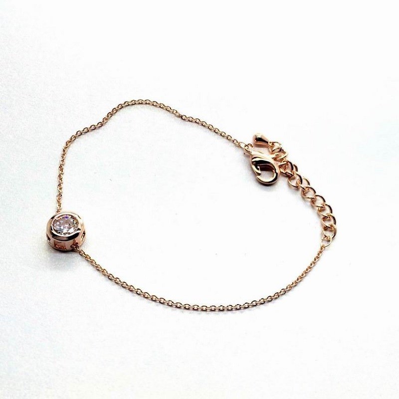 Thin Gold Chain Bracelet: Gold Plated Thin Chain Bracelet With Round Zircon Accent
