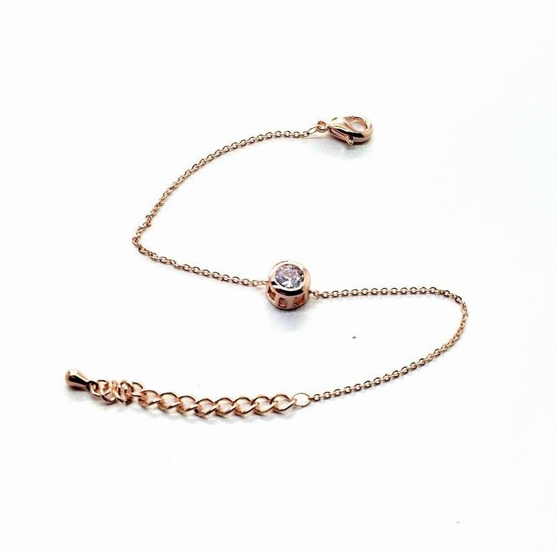 11544-4a9b870e851e7f9035011cd3d37fe216 Gold Plated Thin Chain Bracelet With Round Zircon Accent