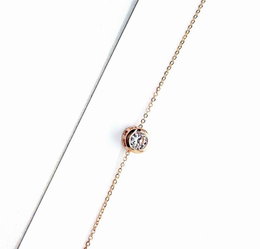 11544-634176a55906c805b39d79ad32f39557 Gold Plated Thin Chain Bracelet With Round Zircon Accent