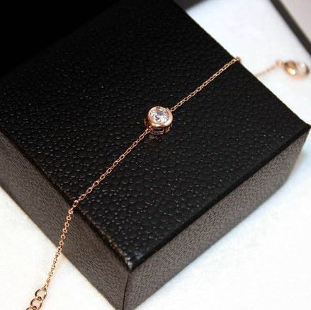 11544-73f42511c2f24ab50705e6219661a55c Gold Plated Thin Chain Bracelet With Round Zircon Accent