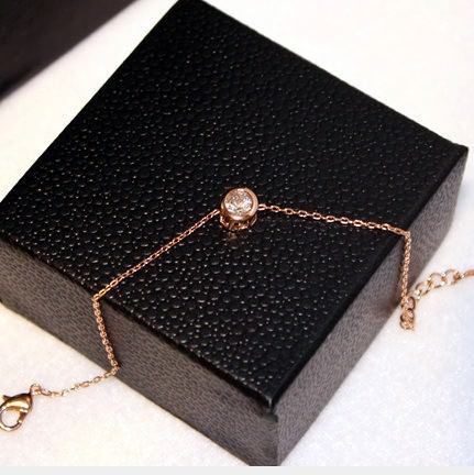 11544-94913530ad20837c284f23d542da71f0 Gold Plated Thin Chain Bracelet With Round Zircon Accent