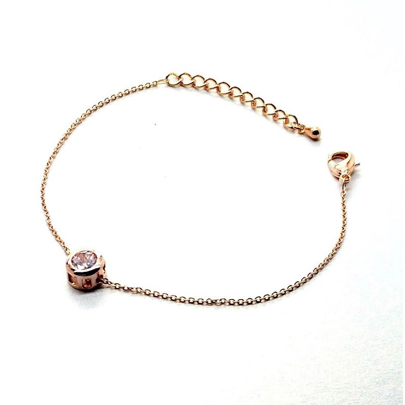 11544-996b395e8cb68ec22effe5141a51888a Gold Plated Thin Chain Bracelet With Round Zircon Accent