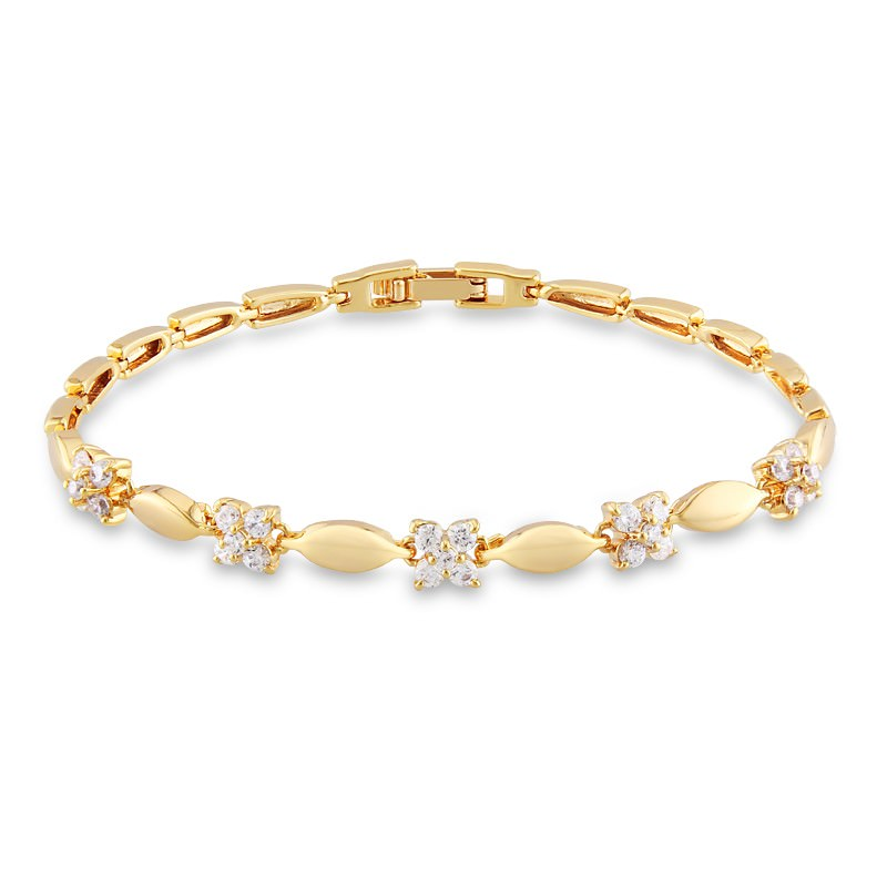 11548-412c9ec9923405e4fd750acc6473f43a Luxury 18K Gold Plated Chain Bracelet for Women White AAA Cubic Zircon Wedding Crystal Jewelry