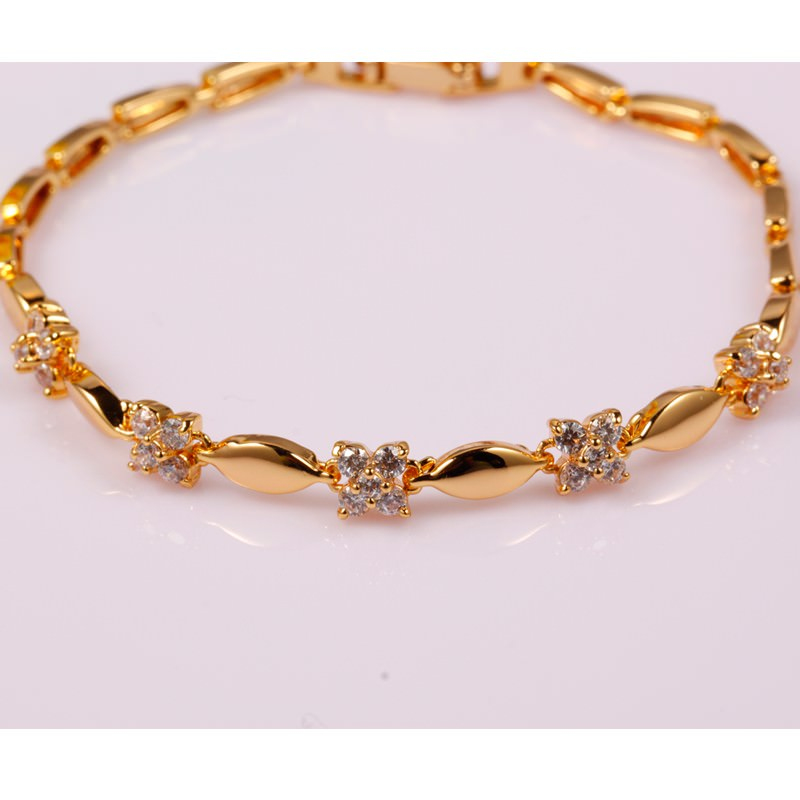 11548-7e24101caf5c203eb1ea4704bea767dc Luxury 18K Gold Plated Chain Bracelet for Women White AAA Cubic Zircon Wedding Crystal Jewelry