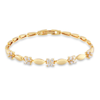 18 K Gold Plated Chain Bracelet With Floral AAA Cubic Zircon Crystals