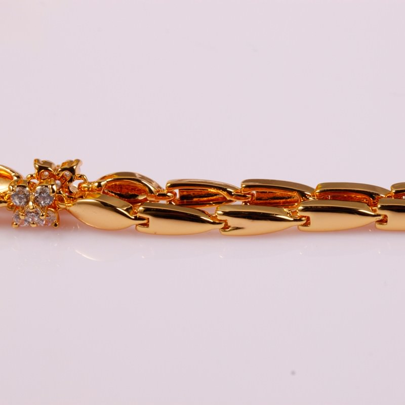 11548-c8398274173b346ca565d1a0910bb871 18 K Gold Plated Chain Bracelet With Floral AAA Cubic Zircon Crystals
