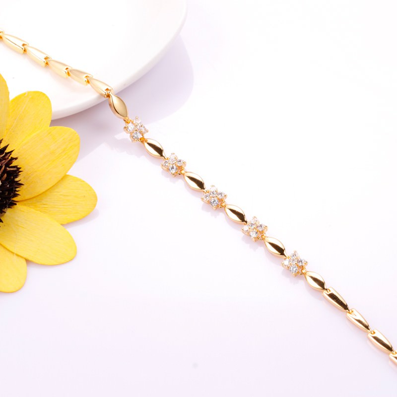 11548-f36755c43bbce3860ebdd4cd03187512 18 K Gold Plated Chain Bracelet With Floral AAA Cubic Zircon Crystals