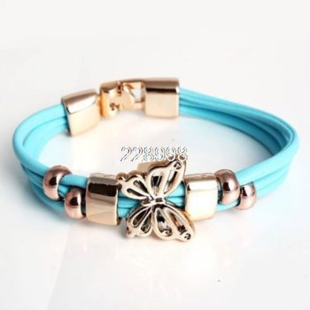Three Tier Leather Bracelet Jewelry With Golden Butterfly Accent