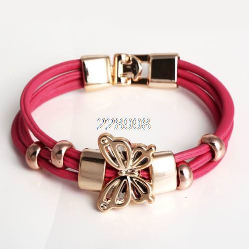 11549-701142f34d970d239ce3895202f074d4 Three Tier Leather Bracelet Jewelry With Golden Butterfly Accent