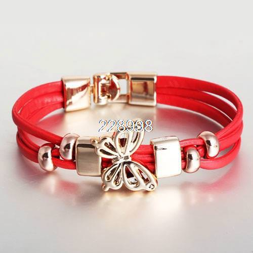 11549-b067da496fc6fbd0ed0c4cccec2aaa0c Three Tier Leather Bracelet Jewelry With Golden Butterfly Accent