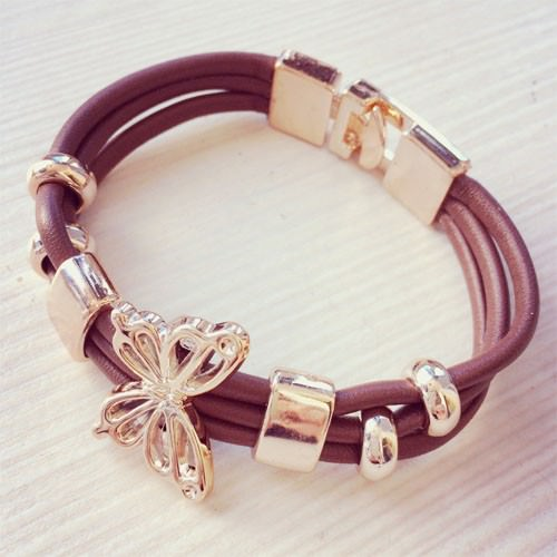 11549-be6f28af8846a5fb82fc249a7a2a90ad Three Tier Leather Bracelet Jewelry With Golden Butterfly Accent