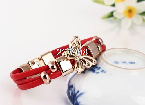 11549-e82175fc5b6e07793804b7a16328e03d Three Tier Leather Bracelet Jewelry With Golden Butterfly Accent
