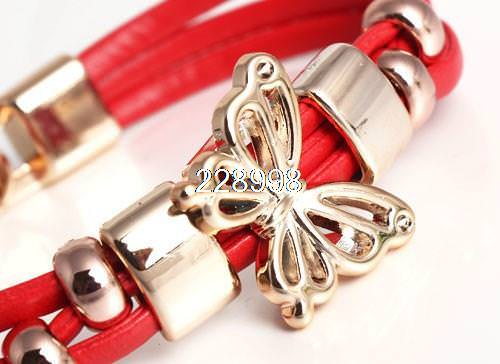 11549-ecd78107729e540ecc791d52c0cdf850 Three Tier Leather Bracelet Jewelry With Golden Butterfly Accent