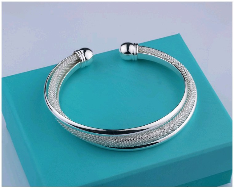 11550-4baef55925d05fe2485ea5bb1cd6aef0 Fashion Silver Plated And Mesh Bangle Bracelet Jewelry