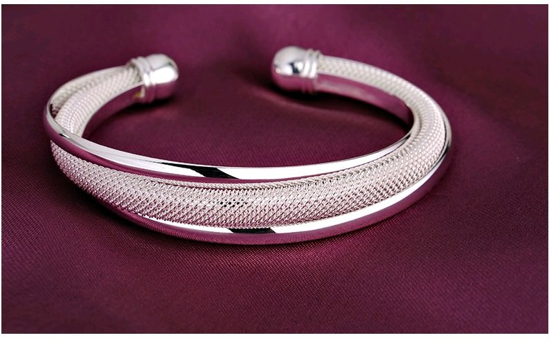 11550-be965ef9066e801d5673b7f0edea0f1f Fashion Silver Plated And Mesh Bangle Bracelet Jewelry