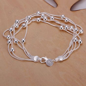 Classy Multilayer Silver Plated Snake Chain Bracelet With Beads