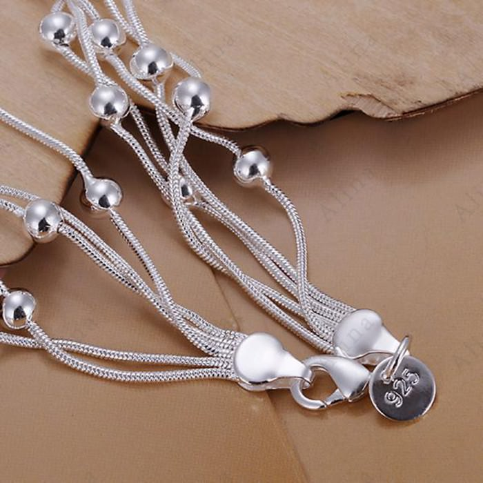 11552-73e0a4f56179bda3d2d903d773be37b4 Classy Multilayer Silver Plated Snake Chain Bracelet With Beads