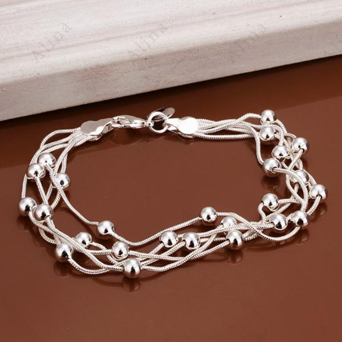 11552-8f7980f1177f15279e1aa591a9f6ac8b Classy Multilayer Silver Plated Snake Chain Bracelet With Beads
