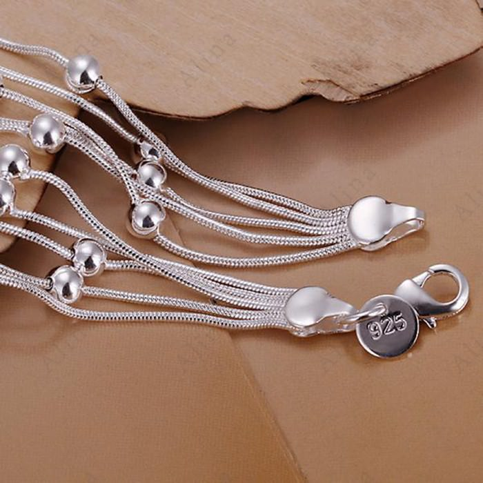 11552-e0e5281d3402b67b9fc1c3a41ff3211b Classy Multilayer Silver Plated Snake Chain Bracelet With Beads
