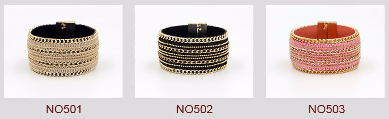 11555-091e429f337032c983855eb33b0f9195 Leather And Gold Chain Bracelet Bangle With Magnetic Clasps