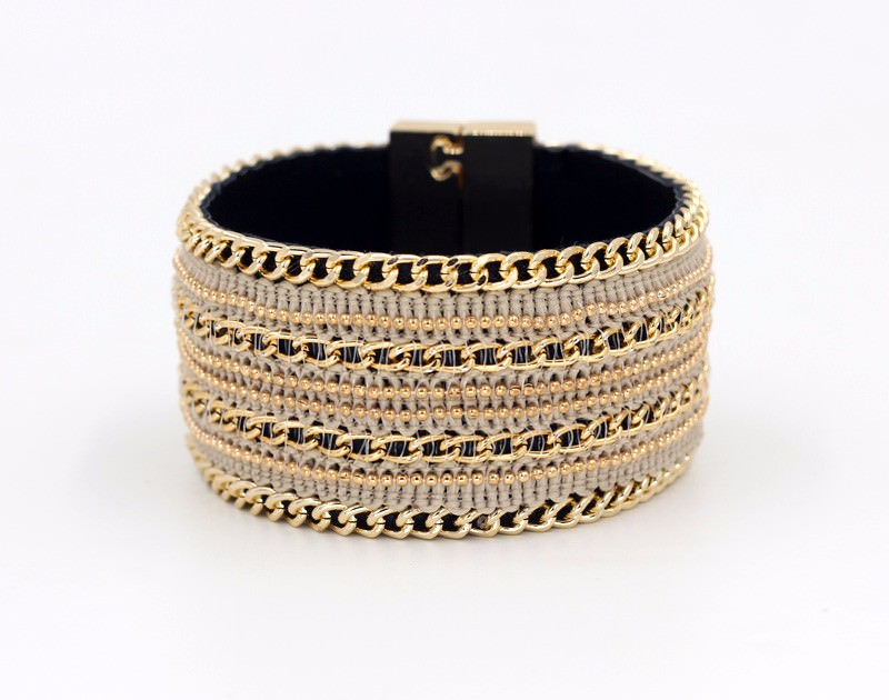 11555-0dc96cd69bf9acc56d7130dac94f21d4 Leather And Gold Chain Bracelet Bangle With Magnetic Clasps