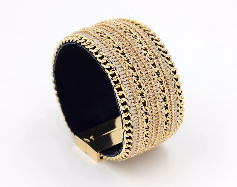 11555-144909c4d706c6c64a544004f212918d Leather And Gold Chain Bracelet Bangle With Magnetic Clasps