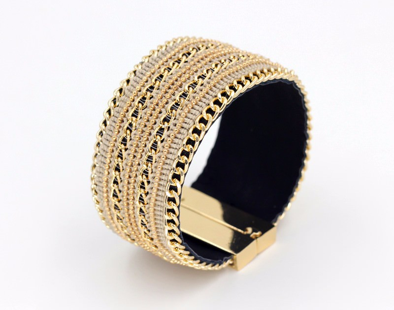 11555-1574fdf5c65e69f617a119eb67ffcec7 Leather And Gold Chain Bracelet Bangle With Magnetic Clasps