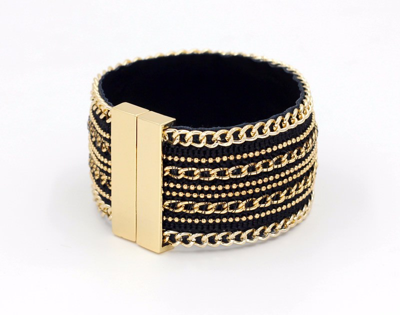 11555-1e643251a8acbfa5253c50c4adb5d789 Leather And Gold Chain Bracelet Bangle With Magnetic Clasps