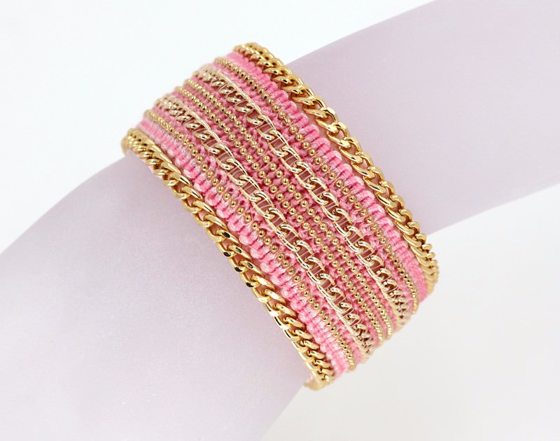 11555-227a6ffb4f9de52aa224c344ca750b04 Leather And Gold Chain Bracelet Bangle With Magnetic Clasps