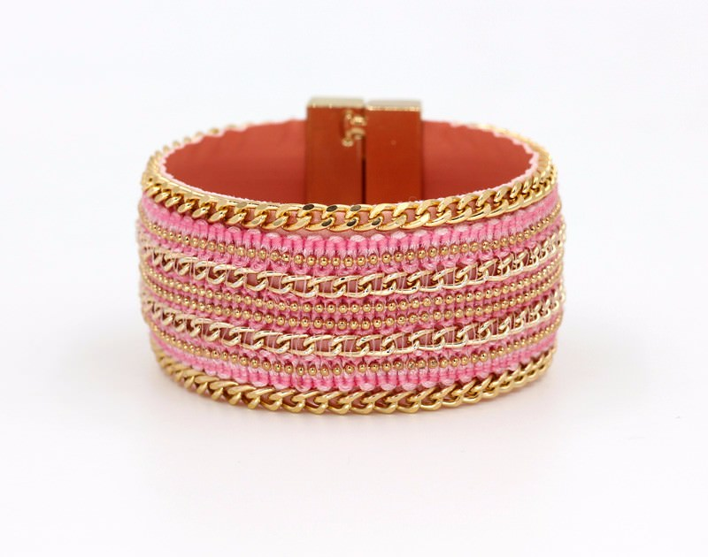 11555-35171f92adb1094af531005cb9321c06 Leather And Gold Chain Bracelet Bangle With Magnetic Clasps