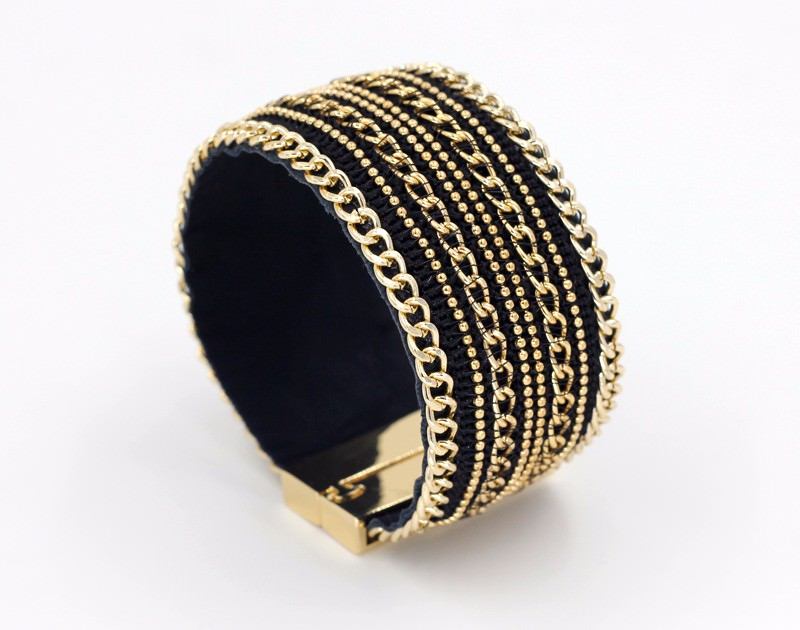 11555-3b70d112bdf20ae39c622812d195a0bb Leather And Gold Chain Bracelet Bangle With Magnetic Clasps