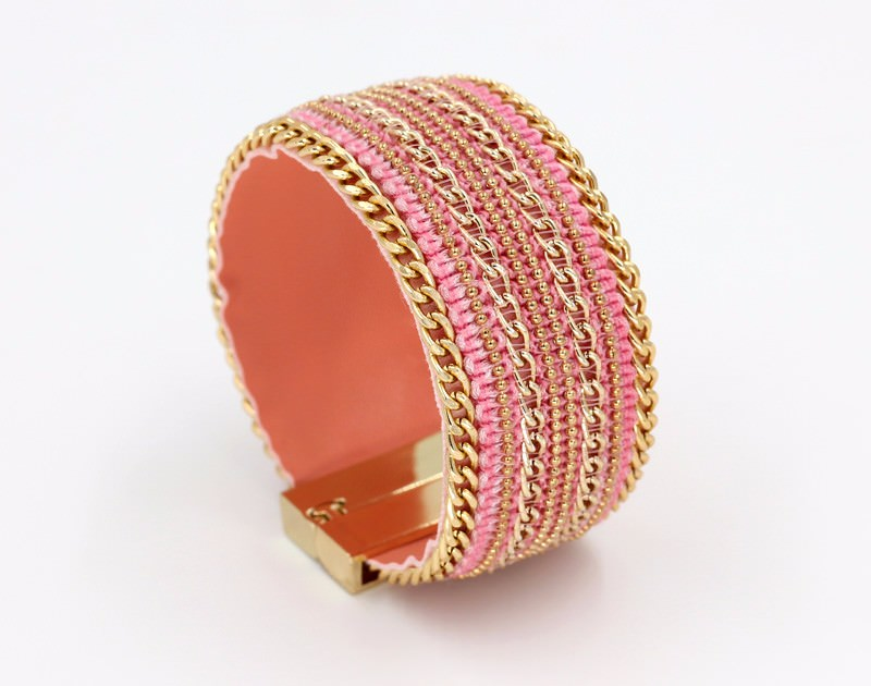 11555-60fb8f760c6448dbd8688b4afe2d2e78 Leather And Gold Chain Bracelet Bangle With Magnetic Clasps