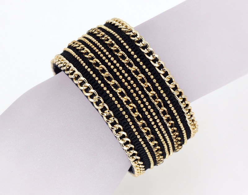 11555-62e6d881473d6903439a95c6079ba9d5 Leather And Gold Chain Bracelet Bangle With Magnetic Clasps